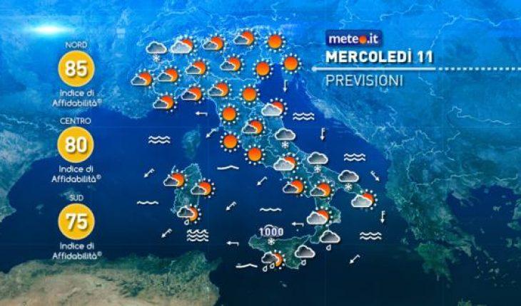 Meteo le previsioni del tempo di domani mercoled 11 - Meteo bagno di romagna domani ...